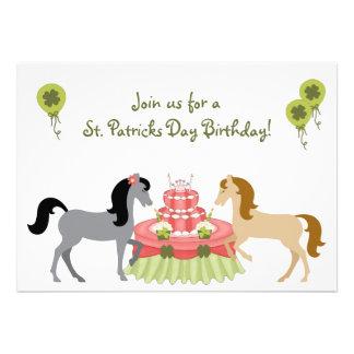 Pretty Ponies St Patrick s Day Birthday Invitation