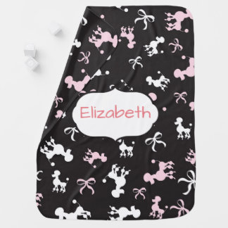 Pretty Poodles Personalize Baby Blanket