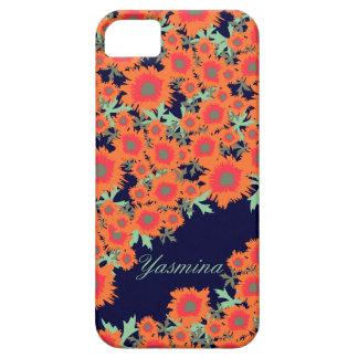 Pretty poppy orange blue damask name iphone5 case iPhone 5 case