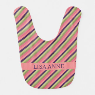 Pretty Posies Stripe Personalized Reversible Bib