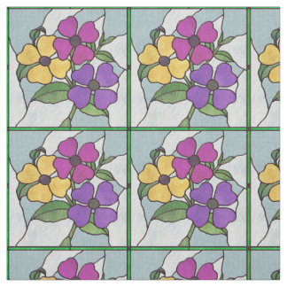Pretty Posy Stained Glass Look Flowers Fabric