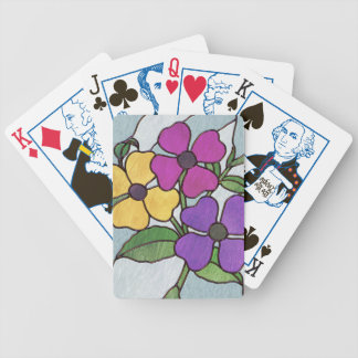 Pretty Posy Stained Glass Look Flowers Deck Of Cards