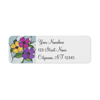 Pretty Posy Stained Glass Look Flowers Return Address Label