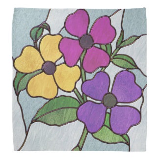 Pretty Posy Stained Glass Look Flowers Head Kerchiefs