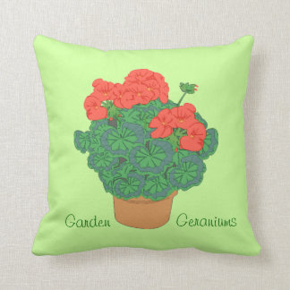 Pretty Potted Geraniums Summer Garden Plants Throw Pillow