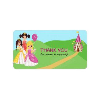 Pretty Princess Girls Birthday Thank You Label