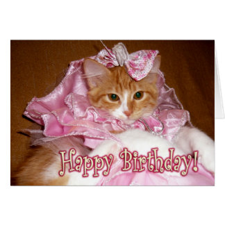 Pretty Princess Kitten - Happy Birthday! Card