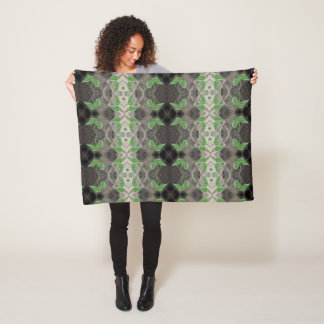 Pretty Print With Black White And Green Fleece Blanket