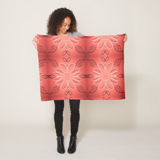 Pretty Print With Burgundy Coral Fleece Blanket