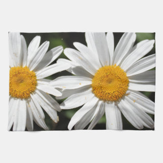 Pretty pure white daisy flowers tea towel