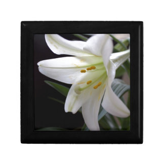 Pretty, pure white Easter lily flower in black Small Square Gift Box