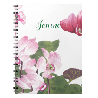 Pretty Purple and Pink Cyclamen Flowers Spiral Notebook