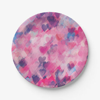 Pretty Purple and Pink Heart Love Romance Whimsy Paper Plate