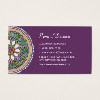 Pretty Purple and White Daisy Flower Tile Mosaic Business Card