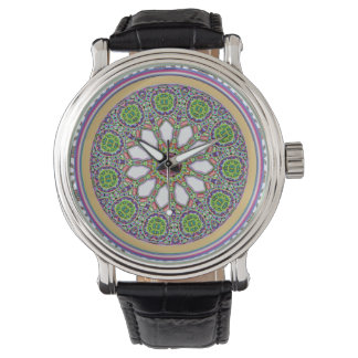 Pretty Purple and White Daisy Flower Tile Mosaic Watch