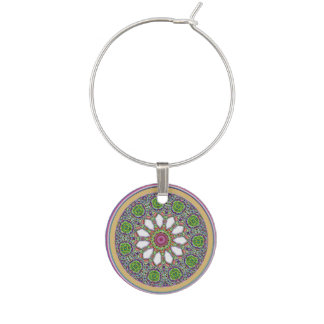 Pretty Purple and White Daisy Flower Tile Mosaic Wine Charm