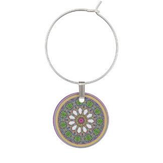 Pretty Purple and White Daisy Flower Tile Mosaic Wine Glass Charm