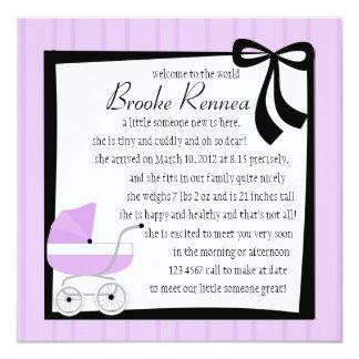 """Pretty Purple Baby Buggy 5.25"""" Square Invitation Card"""