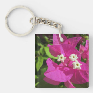 Pretty Purple Bougainvillea Double-Sided Square Acrylic Key Ring