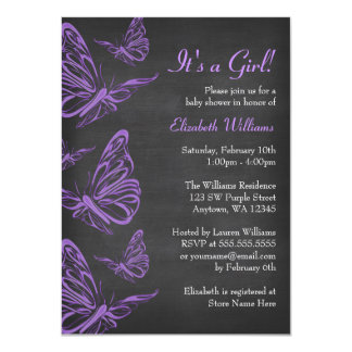 Pretty Purple Butterfly Chalkboard Baby Shower 11 Cm X 16 Cm Invitation Card