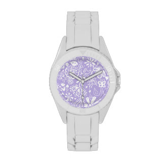 Pretty purple doodle pattern wristwatches
