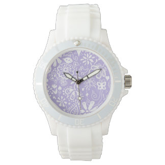 Pretty purple doodle pattern watches