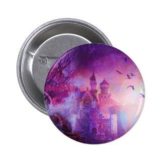 Pretty Purple Fairy Tale Fantasy Castle Pinback Buttons