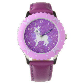 Pretty Purple Fantasy Unicorn and Glitter Pattern Watches