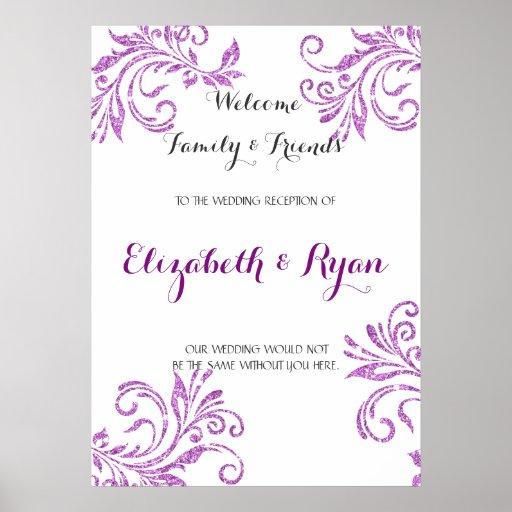 Pretty Purple Faux Glitter, Custom Wedding Welcome Poster