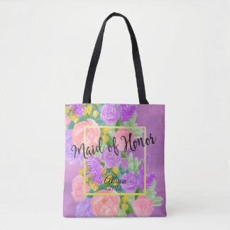 Pretty Purple Floral Maid of Honor Tote Bag