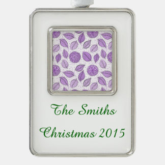 Pretty Purple Floral Pattern Silver Plated Framed Ornament