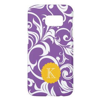 Pretty Purple Floral Wallpaper Swirl Monogram