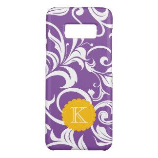 Pretty Purple Floral Wallpaper Swirl Monogram Case-Mate Samsung Galaxy S8 Case