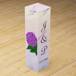 Pretty Purple Floral Watercolor Wedding Wine Box