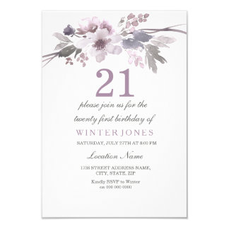 Pretty Purple Flower 21st Birthday Party Invite
