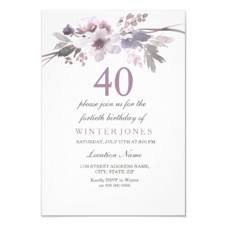 Pretty Purple Flower 40th Birthday Party Invite