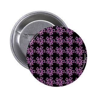 Pretty Purple Flower Art on Black Floral Pattern Button