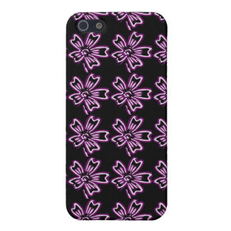 Pretty Purple Flower Art on Black Floral Pattern Cover For iPhone 5