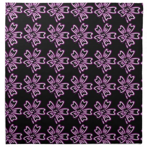 Pretty Purple Flower Art on Black Floral Pattern Printed Napkin