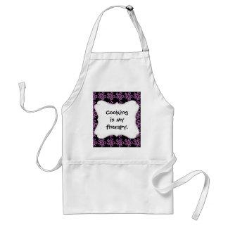 Pretty Purple Flower Art on Black Floral Pattern Standard Apron