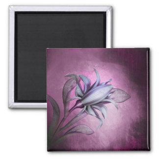 Pretty Purple Flower Blossom Art Square Magnet