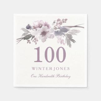 Pretty Purple Flower Floral 100th Birthday Party Disposable Serviettes