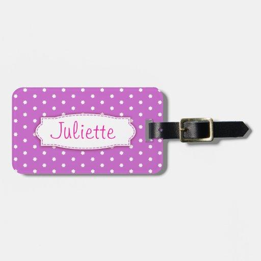 Pretty purple flower polka dots named luggage tag
