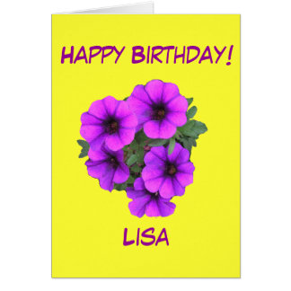 Pretty Purple Flowers Birthday Add her name front Greeting Card