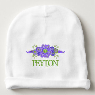 Pretty Purple Flowers Centerpiece Name Template Baby Beanie