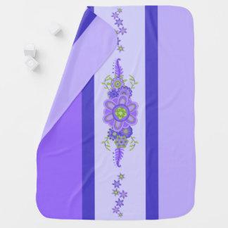 Pretty Purple Flowers Centerpiece & Stripes Baby Blanket
