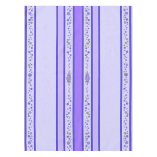 Pretty Purple Flowers Centerpiece & Stripes Tablecloth