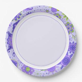 Pretty Purple Flowers Paper Plate
