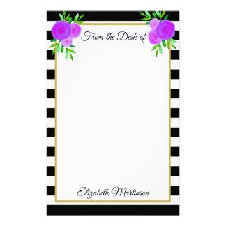 Pretty Purple Flowers Striped Monogram Name Stationery