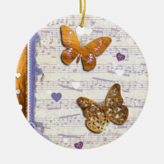 Pretty Purple & Gold butterflies & music collage Double-Sided Ceramic Round Christmas Ornament